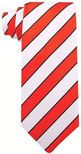 College Striped Ties for Men - Woven Necktie - Crimson Red w/White