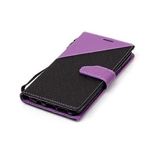 Funda Samsung Galaxy S8,Funda Libro Suave PU Leather Cuero impresión- EMAXELERS Carcasa Con Flip case cover,Funda Galaxy S8 gofrado diseño afortunado del trébol Flip case cover,wallet Case para Galaxy B Hit Color:Dark Purple and Black