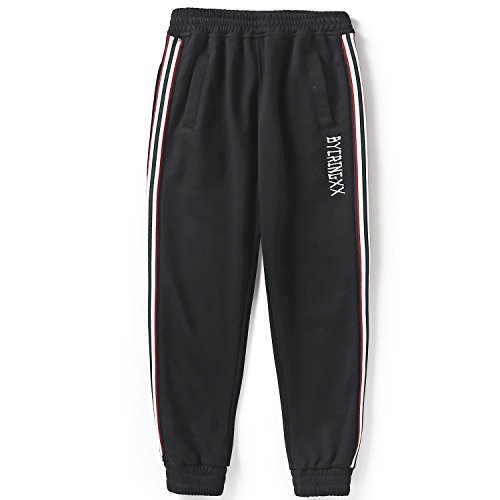 BYCR Boys' Casual Outdoor Comfort Adjustable Elastic Loose Sport Cotton Pants (Black, 160 (US Size 12-14))