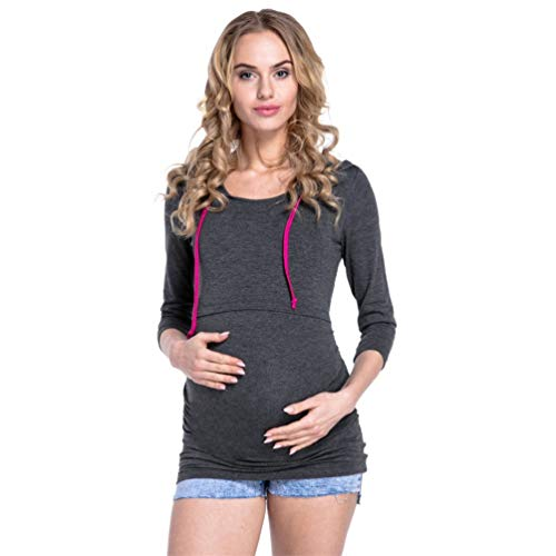 Grigio Donna con Top Pullover Maniche Lunghe Gravidanza per Scuro Premaman Allattamento Breastfeeding Felpe Cappuccio POINGS paqxZwU6a