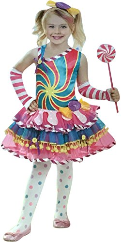 5 Piece Candy Land Girls Candy Girl Halloween Costume - Dress, Gloves, Wand and (Candy Land Halloween Costume)