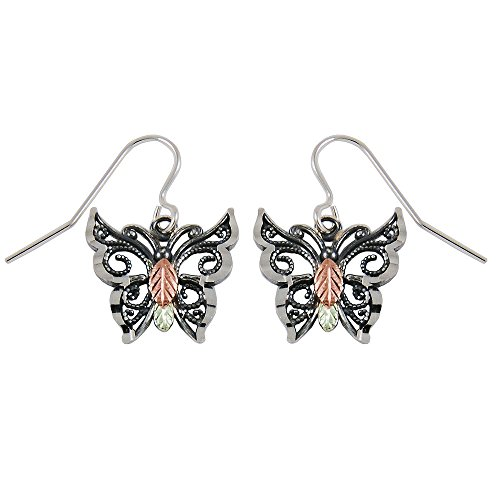 Oxidized Black Hills Sterling Silver Butterfly Earrings (Black Hills Gold Butterfly Earrings)