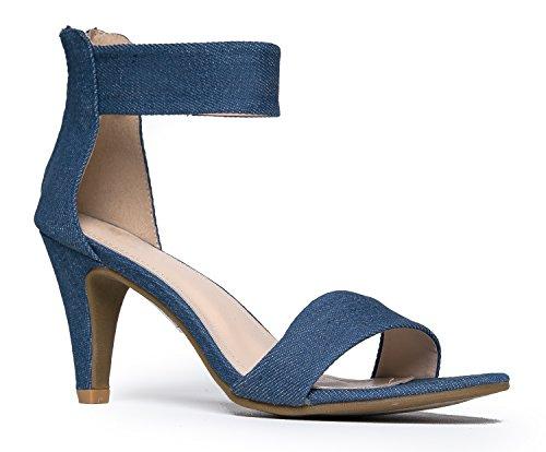 J. Adams Ankle Strap Open Peep Toe High Heels, Denim, 7 B(M) (Shoe Blue Denim)