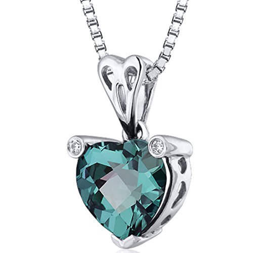 (Simulated Alexandrite Heart Shape Pendant Necklace Sterling Silver 2.50 Carats)