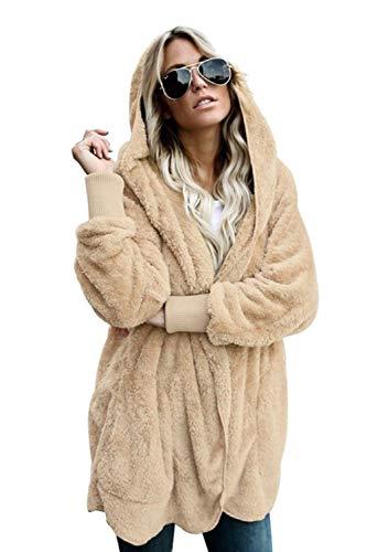 Les Femmes Manteaux et Blousons Cardigan Furry Occasionnels Outercoat Chaud Jacket Sweat-Shirts Tops Le Khaki