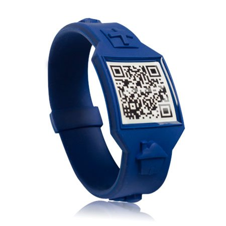 QRLiving Wearable QR Code ID Silicone Wristband Links to FREE Online profile/Last Scanned GPS Location (Large, Blue)