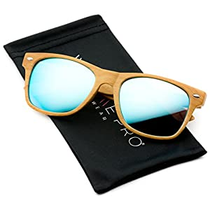 Faux Wood Reflective Color Lens Horn Rimmed Style Sunglasses