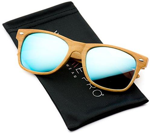 Faux Wood Reflective Revo Color Lens Horn Rimmed Style - Lens Blue Wayfarer