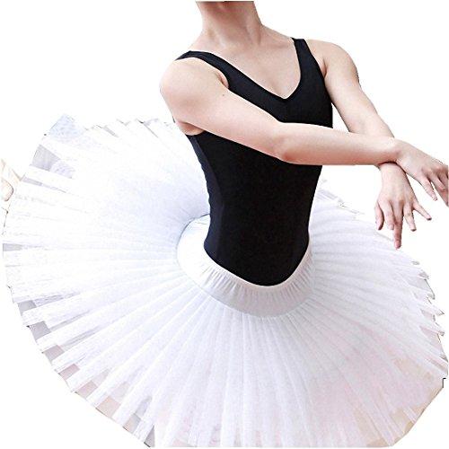 Womens Ballet Platter Hard Organdy Tutu Skirt White (Platter Tutu Ballet)