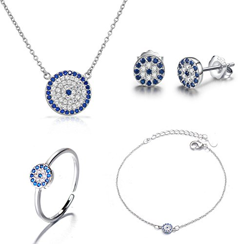(I'S ISAACSONG 925 Sterling Silver Inspirational Blue Cubic Zirconia Crystal Evil Eye Charm Pendant Necklace, Ring, Bracelet and Earring Jewelry Set for Girl Women (Round Blue Evil Eye Set))