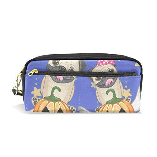 (Pencil Case/Makeup Bags Halloween Dogs with Pumpkins Big Capacity Portable Pencil Bag for College)