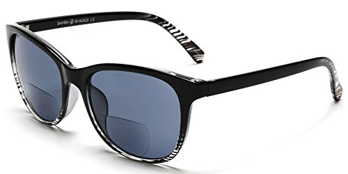 Samba Shades Bi-Focal Sun Readers Fashion Sunglasses with Black and Transparent Frame, Grey Lens, 2.00 Rx Magnification