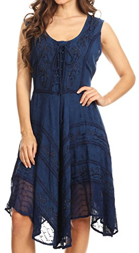Sakkas 123 Sundara Stonewashed Rayon Mid Length Dress - Navy - 1X/2X -