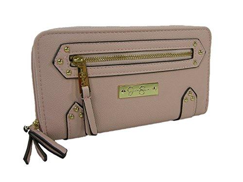 New Jessica Simpson Logo Double Zip Around Wallet Purse Hand Bag Rose Pink Zuri
