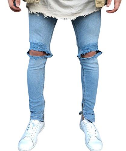Zipper Cotton Men Jeans - 2