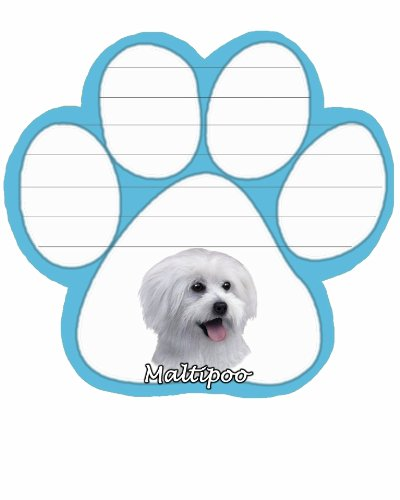 Maltipoo Notepad With Unique Die Cut Paw Shaped Sticky Notes 50 Sheets Measuring 5 by 4.7 Inches Convenient Functional Everyday Item Great Gift For Maltipoo Lovers and Owners