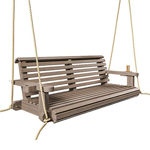 Porchgate Amish Heavy Duty 800 Lb Roll Comfort Treated Porch Swing W/Ropes (5 Foot, Warm Walnut Stain)