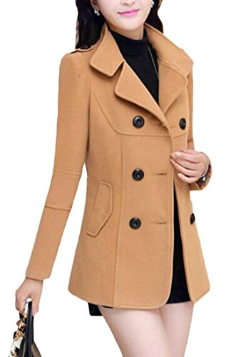 New SELX-Women Notched Lapel Double Breasted Wool Blend Long Pea Coat Camel US XL Camel Wool Blazer 6