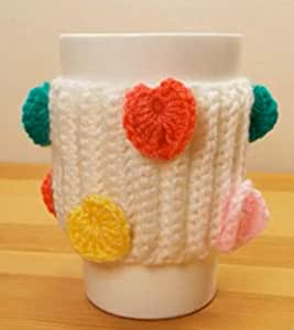 White Wool Mug Cover Decorated with Different Hearts