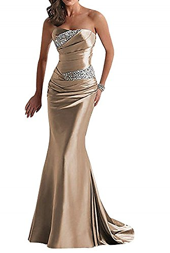 Debut Gold Crystal - Liyuke Women's Strapless Prom Dresses Mermaid Long Crystal Beaded Evening Dress Champagne Gold US 16