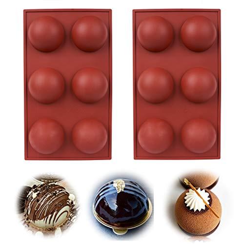 [2 Pack] Large 6-hole Hemispherical Silicone Mold-Used to make hot chocolate bombs, Cake, Jelly, Pudding, Handmade Soap…
