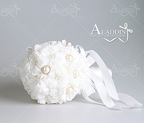 Qishi's DIY Shp04 White Rose with White Ribbon Wedding Bouquest
