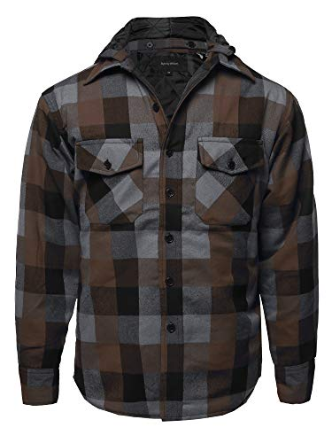 M-65 Lining (Casual Detachable Hoodie Plaid Flannel Quilted Button Jacket Cafe M)