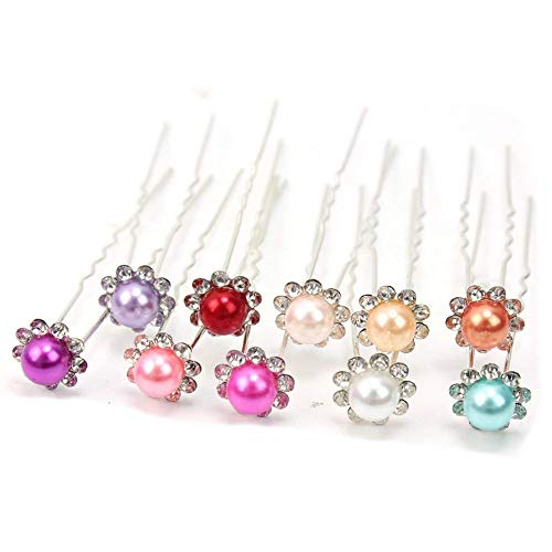 (10pcs Prom wedding party Silver Plated rose Flower Crystal U Hair Pins Clips (type1))