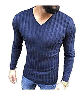 neveraway Men's Plus-Size Casual V Neck Solid-Colored Long Sleeve Shirt Top AS1 S