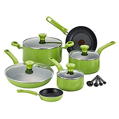 T-fal C968SE Excite Nonstick Thermo-Spot Dishwasher Safe Oven Safe PFOA Free Cookware Set, 14-Piece, Green
