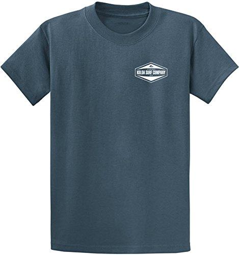 Joe's USA Koloa Hexagon 2-Side Heavyweight Cotton T-Shirt-Steelblue/w-XL
