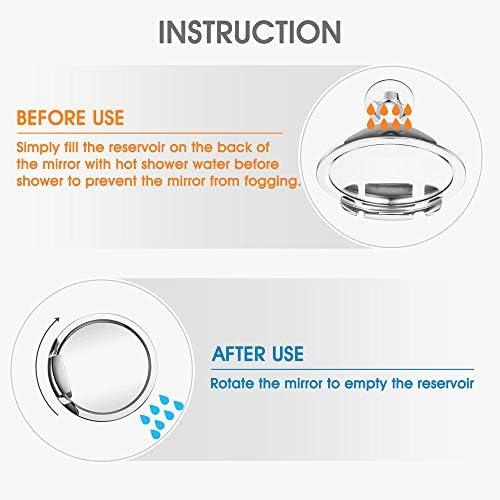 Gotofine specchio doccia con supporto per rasoio antiappannamento 1X MAGNIFICATION con attaccatura a ventosa e braccio regolabile rotazione a 360 gradi per visuale facilitata