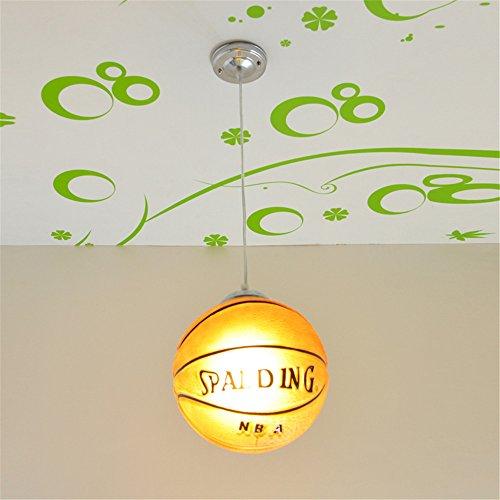Childrens Pendant Light Glass (Mengzhu-Michelle Basketball Chandelier Modern LED Adjustable Industrial Loft Glass Creative Pendant Llight for Children's Room Lamps Ceiling Lighting Fixtures E27)