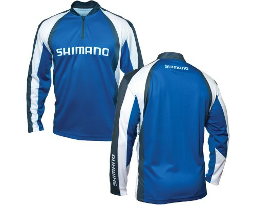 SHIMANO Technical Sublimated Zipfront Long Sleeve Shirt - Blue - XL (Shimano Fishing Shirts For Men)