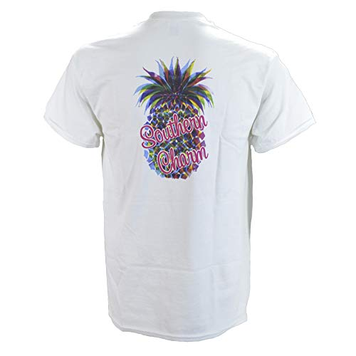 Southern Charm Pineapple on a White Short Sleeve T - Cow Charm White