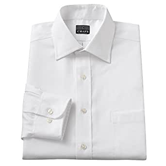 Chaps mens classic fit 100 cotton dress shirt white for Mens wide collar dress shirts