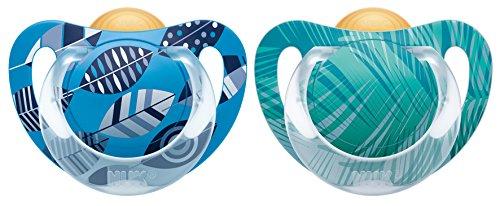 NUK 10171072 Schnuller Genius Color Latex, Zahnschonend, Kiefergerechte Form, BPA frei, 0-6 Monate, Größe 1, blau/grün