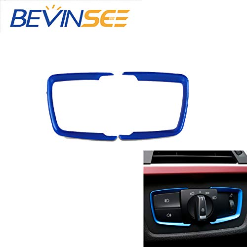 Bevinsee ABS Headlight Switch Cover Trim Replace F30 F31 F32 F34 1 3 4 Series X5,Blue