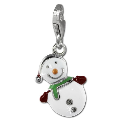 SilberDream Charm snowman white enameled 925 Sterling Silver Pendant Lobster Clasp - Snowman White Charm