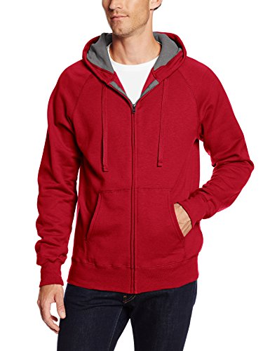 (Hanes Men's Full Zip Nano Premium Lightweight Fleece Hoodie, Vintage Red, Large)