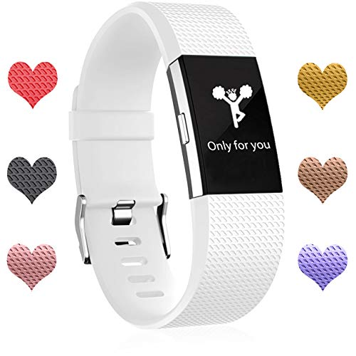 Wepro Fitbit Charge 2 bands, Replacement for Fitbit Charge 2 HR Bands, Buckle, White, Small