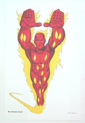 Art Rare Lithograph (The Human Torch Marvel Art Print Litho Lithograph 11 x 17 MarvelF)