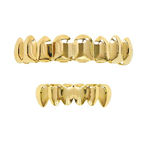 Careland 24k Plated Gold Grillz 8 Teeth Mouth Top and Bottom Grills Set Shiny Hip Hop Teeth Grillz + 2 Extra Molding Bars