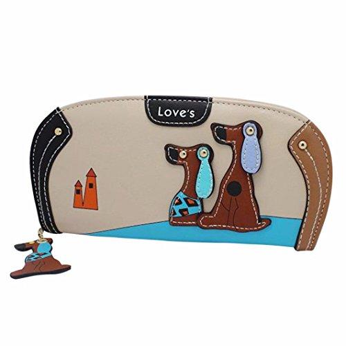 Hunputa Womens Cute Stitching Puppy Dog Zipper Coin Purse Long Wallet Card Holders Handbag ()