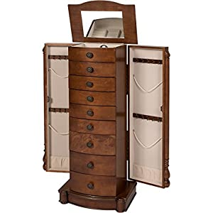 Best Choice Products Armoire Jewelry Cabinet Box Storage Chest Necklace Wood Walnut Stand Organizer