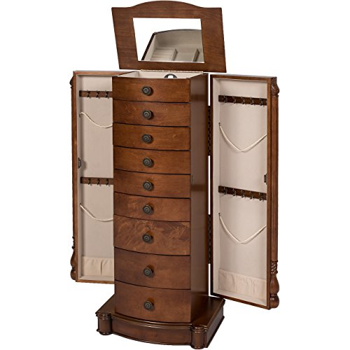 Best Choice Products Armoire Jewelry Cabinet Box Storage Chest Necklace Wood Walnut Stand Organizer by Best Choice Products