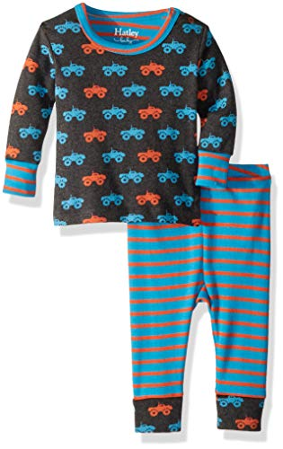 Hatley Baby Boys Organic Cotton Pajama Sets, Colorful Monster Trucks 6-9 Months