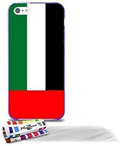 """Carcasa Flexible Ultra-Slim APPLE IPHONE 5S / IPHONE SE de exclusivo motivo [Emiratos Árabes Unidos Bandera] [Violeta] de MUZZANO  + 3 Pelliculas de Pantalla """"UltraClear"""" + ESTILETE y PAÑO MUZZANO REGALADOS - La Protección Antigolpes ULTIMA, ELEGANTE Y DURADERA para su APPLE IPHONE 5S / IPHONE SE"""