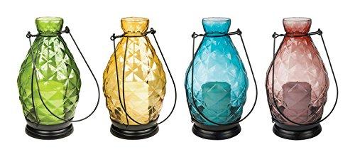 Paradise Garden Dimple Lantern W//Candle GL28083ASRT