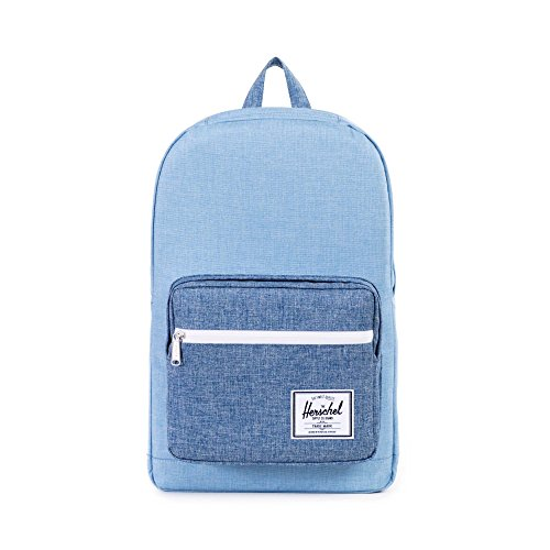 Herschel Supply Co. Pop Quiz Backpack, Limoges Crosshatch/Chambray Crosshatch/Tan Pebbled Leather, One Size